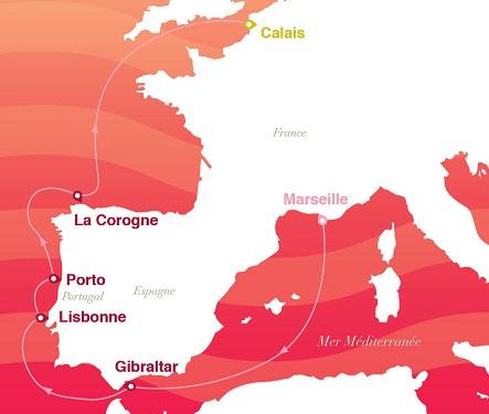 Itinéraire de la croisière Saveurs et découvertes du 1er juin