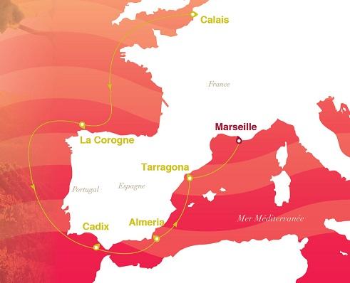 Itinéraire de la croisière Saveurs et découverte du 24 aout