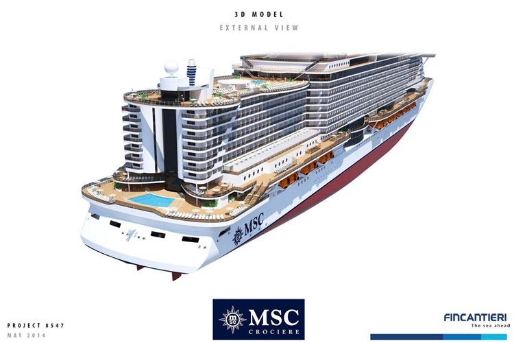 Vue arrière des futurs navires MSC