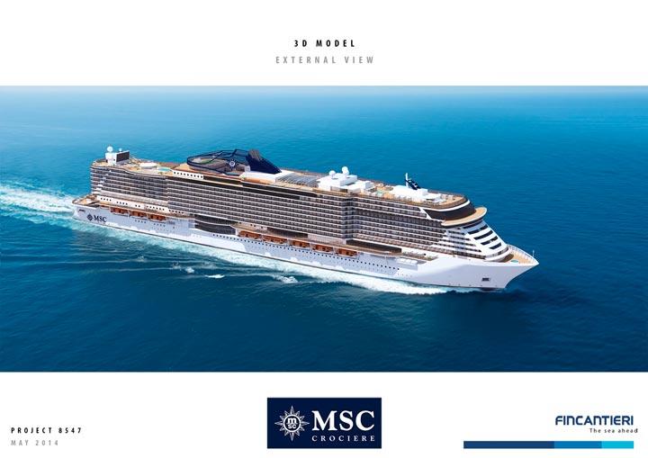 Vue latérale des futurs navires MSC