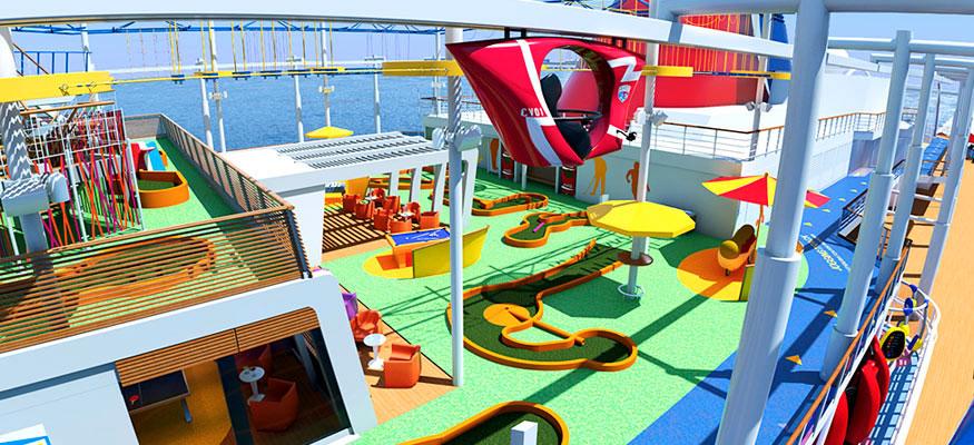 Promenade aérienne au dessus du navire Carnival Vista