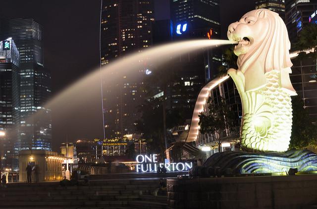 statue merlin Singapour