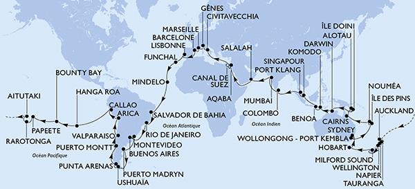 itinéraire tour du monde MSC croisières