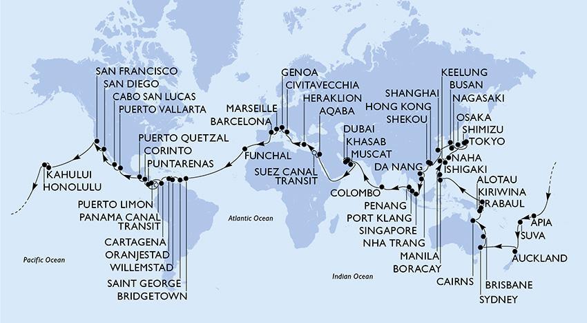 Carte tour du monde 2021 MSC