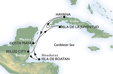 carte *Caraïbes et Antilles, 8 jours